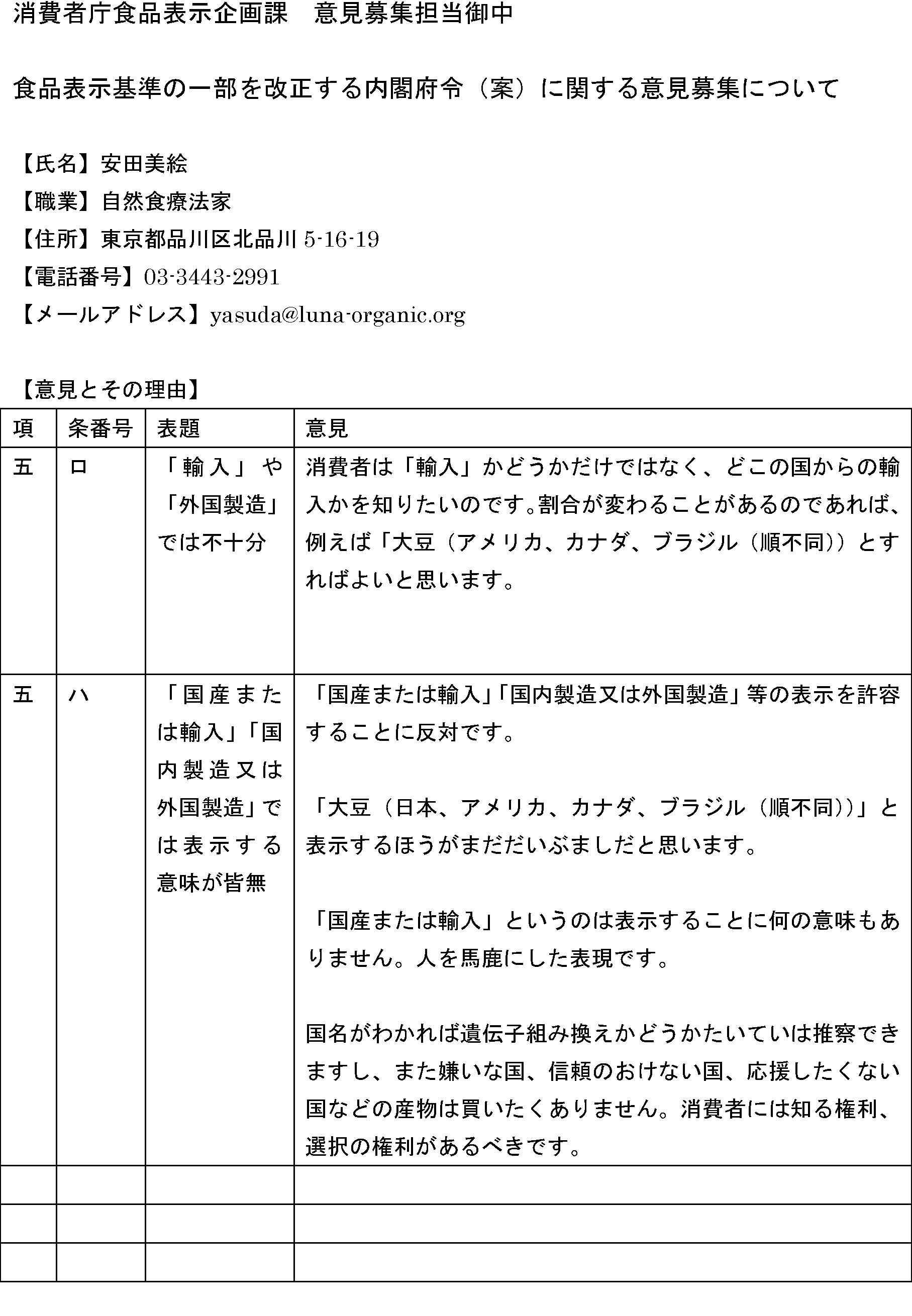 パブコメ:原料原産地表示